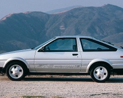 Side view of the hatchback version of the new-for-1985 Corolla GT-S.  (Photo credit: Toyota Motor of North America, Inc)