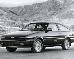 The GT-S version of the Corolla Sport from 1985-87 featured advanced engineering such as a cylinder head with dual overhead engine camshafts and 4 valves per cylinder, fuel injection, 4 wheel disc brakes, and more.  1986 GT-S hatchback shown.
