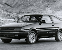 For 1986-87, Corolla Sport GT-S models featured these revised aluminum wheels, smaller GT-S decals, and redesigned bumpers.  U.S. market 1986 Corolla Sport GT-S hatchback shown.  (Photo credit: Toyota Motor of North America, Inc.)