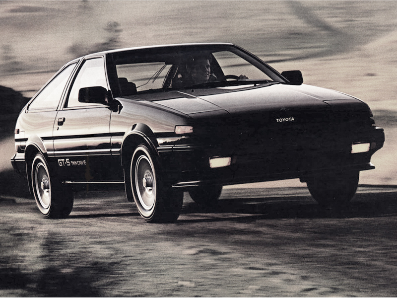 1986 was the last model year for the three-door liftback body style in the U.S.  Shown is a U.S. market 1986 Corolla Sport GT-S three door liftback.  (Photo credit: Toyota Motor of North America, Inc.)