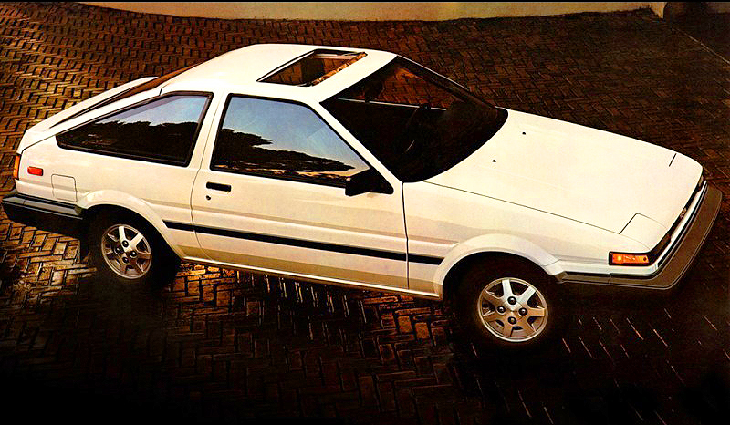 1986 Corolla SR5 hatchback with the 14-inch factory accessory wheels.  (Photo credit: Toyota Motor of North America, Inc.)