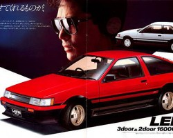 """In other markets, the Corolla Sport was known as the """"Levin"""".  1986 advertisement shown.  (Photo credit: Toyota Motor Inc.)"""