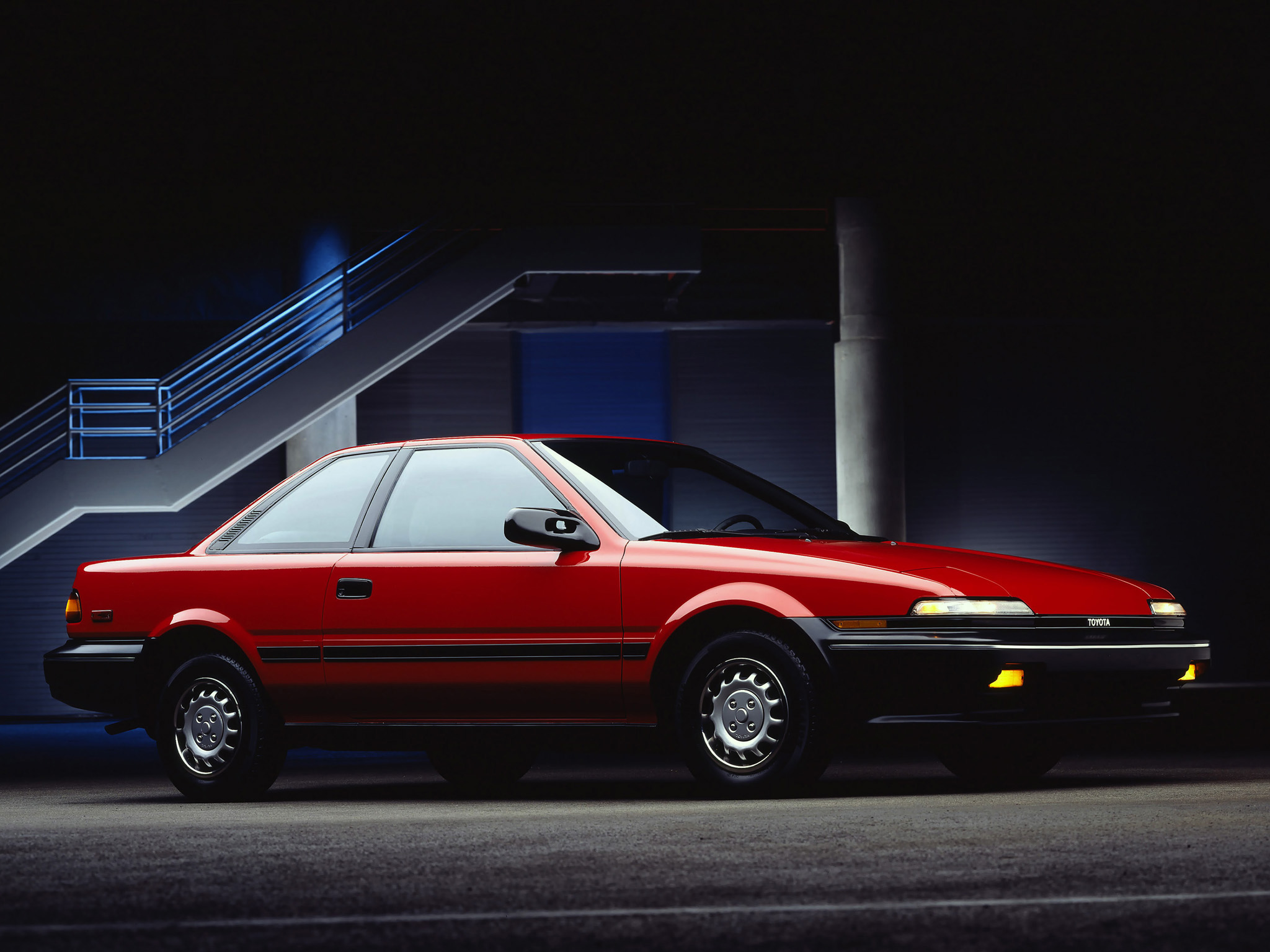 The next generation 1988 - 1991 Corolla Sport coupes switched to front-wheel-drive.  Shown: 1988 Corolla SR5.  (Photo credit: Toyota Motor of North America, Inc.)