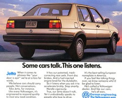 Below, note the 1989 Volkswagen Jetta ad which takes a shot at cars equipped with voiceboxes.  It's interesting to note that Volkswagen's own luxury division, Audi, was during that very time turning out talking cars.  (Photo credit: Volkswagen of America)