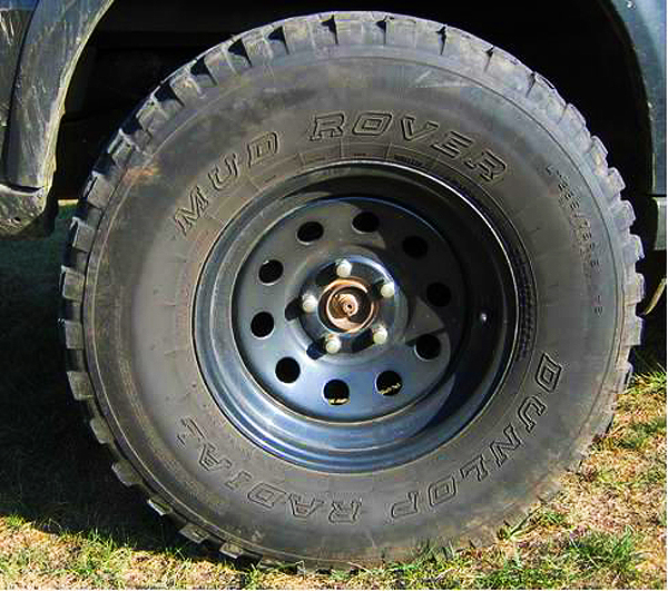 16-inch black steel Land Rover off-road wheels