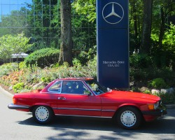 red 1986 Mercedes 560SL