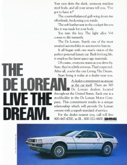 1981 delorean advertisement