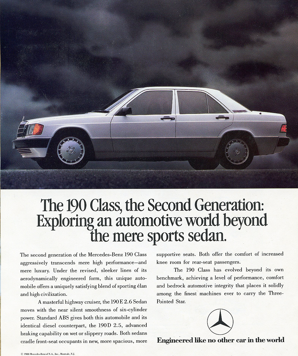 1987 Mercedes 560Sl >> 1989 Mercedes 190E and 190D ad | CLASSIC CARS TODAY ONLINE