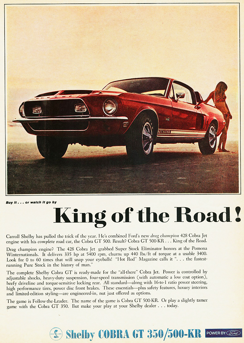 1968 Shelby Mustang Gt500 Kr Ad