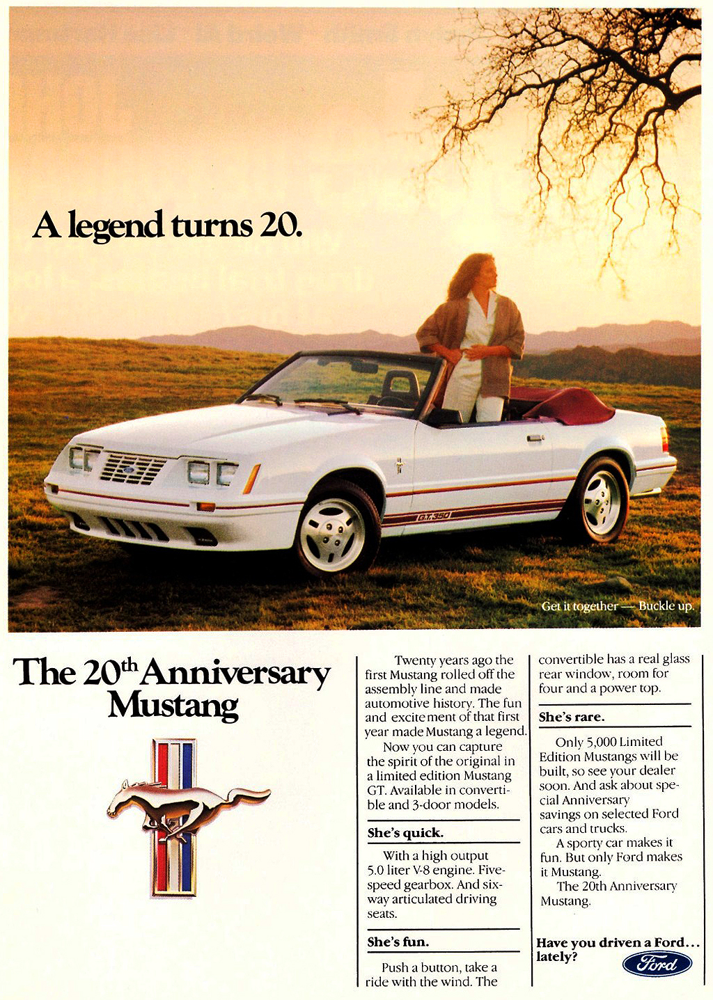 1984 Ford Mustang Gt 20th Anniversary Ad
