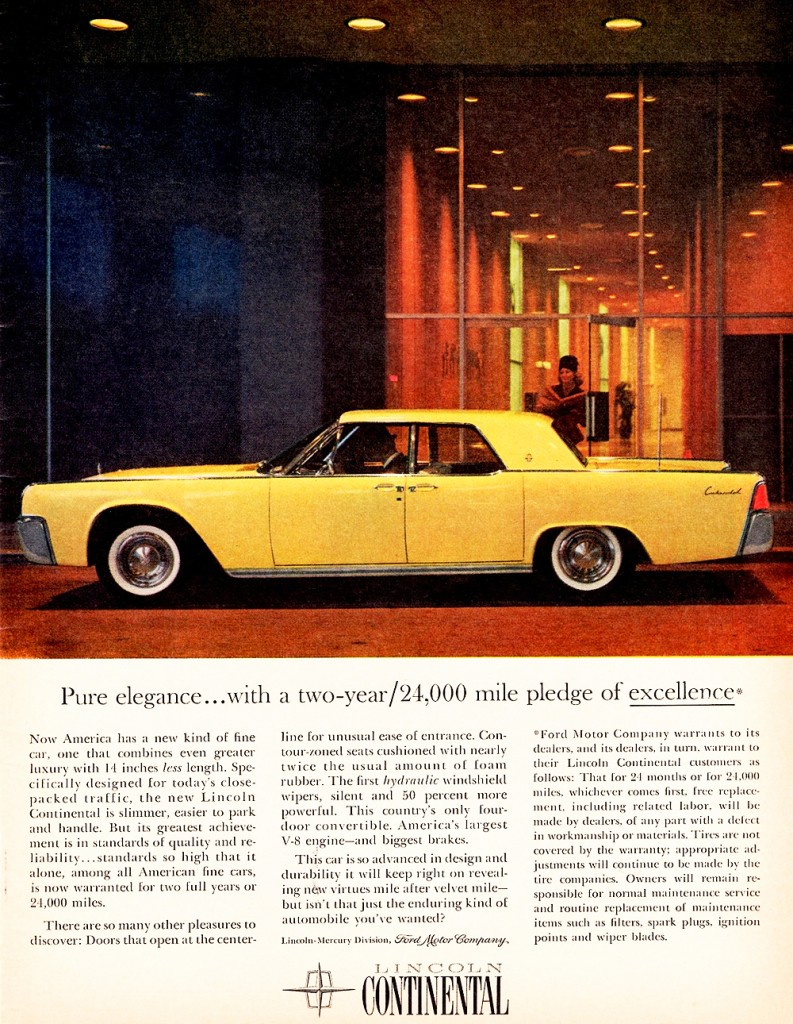 1961 lincoln continental ad classic cars today online. Black Bedroom Furniture Sets. Home Design Ideas