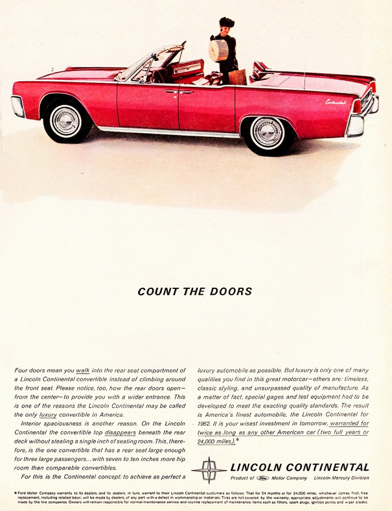 1962 lincoln continental ad classic cars today online. Black Bedroom Furniture Sets. Home Design Ideas