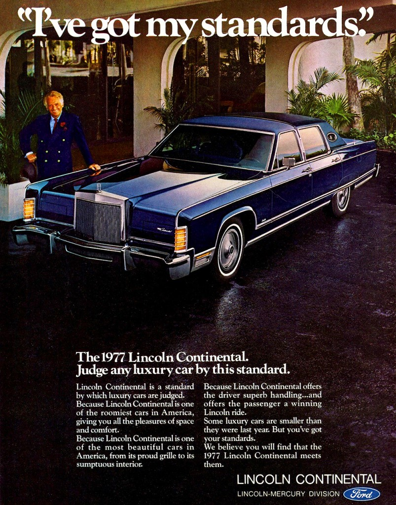 1977 lincoln continental ad classic cars today online. Black Bedroom Furniture Sets. Home Design Ideas