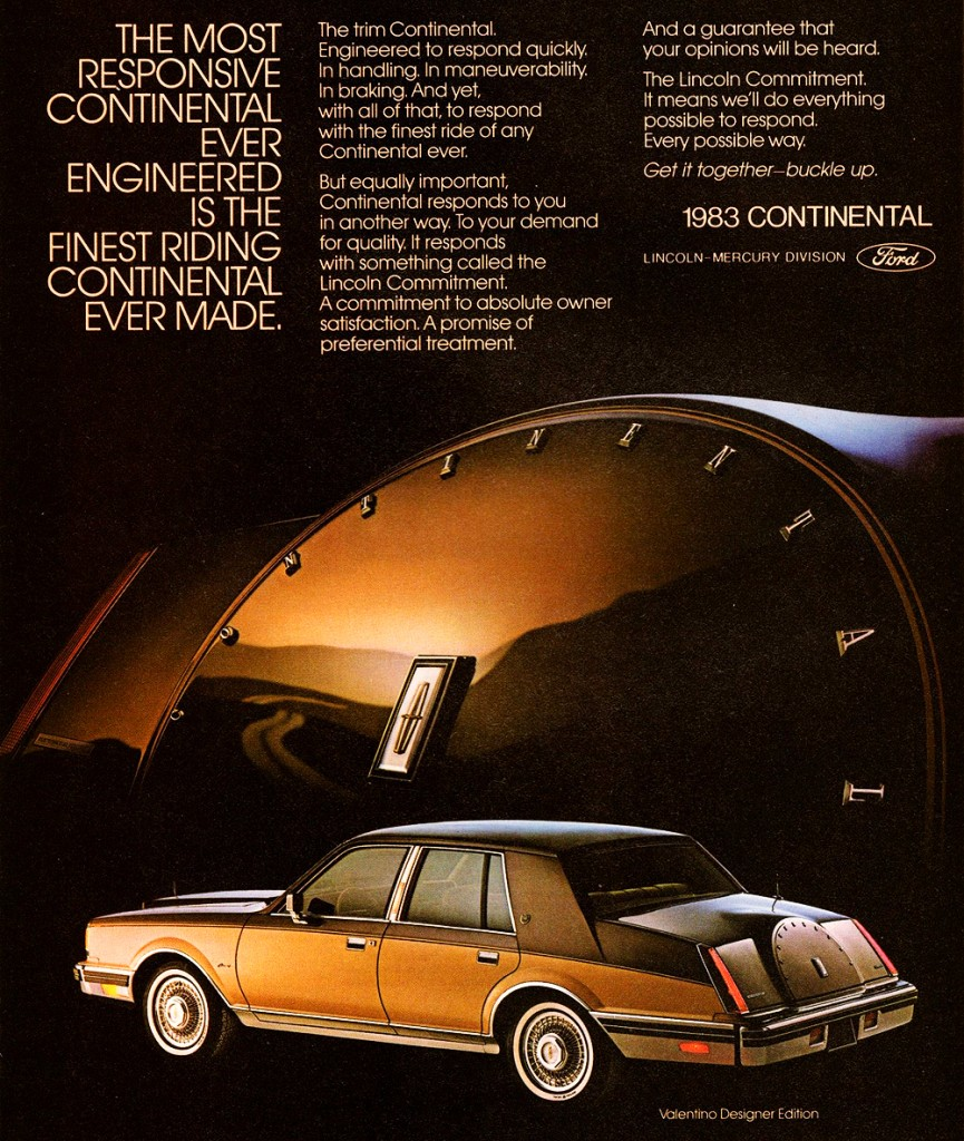 1983 lincoln continental ad classic cars today online. Black Bedroom Furniture Sets. Home Design Ideas