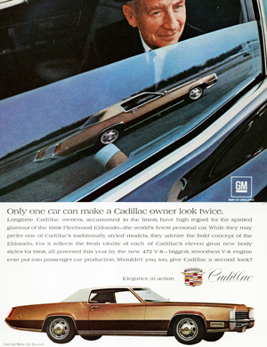 """Only one car can make a Cadillac owner look twice"", according to this 1968 Eldorado ad"
