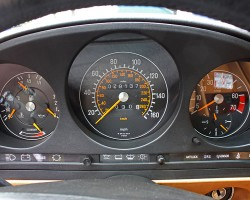 From 1983 on, speedometers returned to higher speed readings.  (1986 560SL shown).