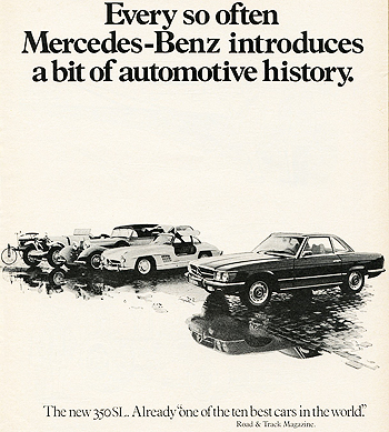 This U.S. market ad introduces the 1972 107-body SL. Although it featured a 4.5-liter engine, the model was badged 350SL for its first year only.