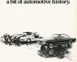 This 1972 U.S. market ad introduces the 107-body SL. Although it featured a 4.5-liter engine, the model was badged 350SL for its first year only.