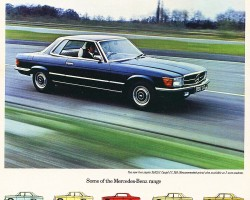 The 350SLC was also introduced for 1972 in the U.S. and abroad. The SL's wheelbase was stretched to accomodate a rear seat in hardtop coupe form only. Note the flush aero headlights on this U.K. market ad.