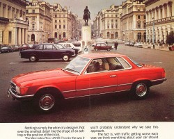 An advertisement for the U.K.-market 1974 450SLC coupe.