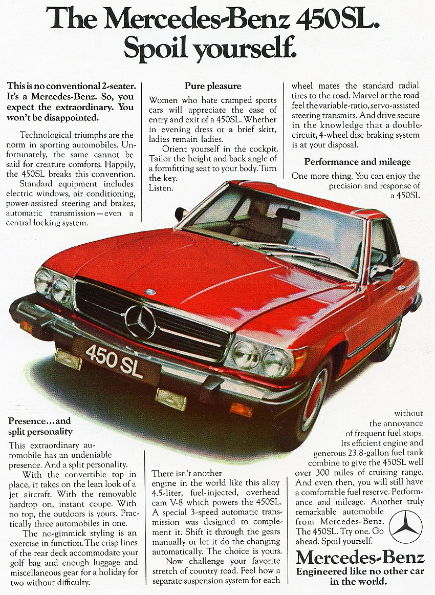 1975 Mercedes 450SL advertisement.