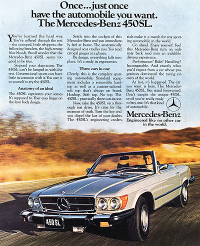 Mercedes 1976 450SL ad a 400 the classic 1972 1989 mercedes sl spanned 18 model years without 1973 Mercedes 450SEL at crackthecode.co