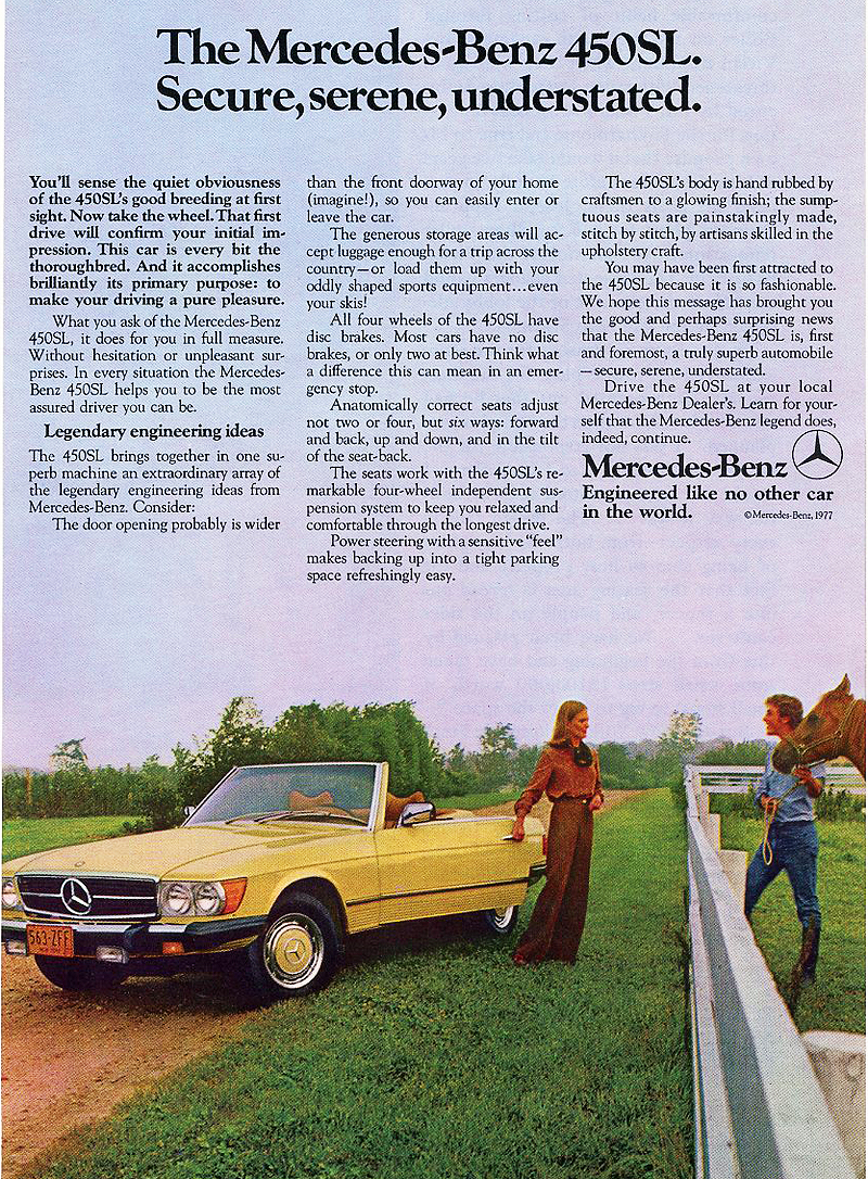1977 Mercedes 450sl Ad Classic Cars Today Online