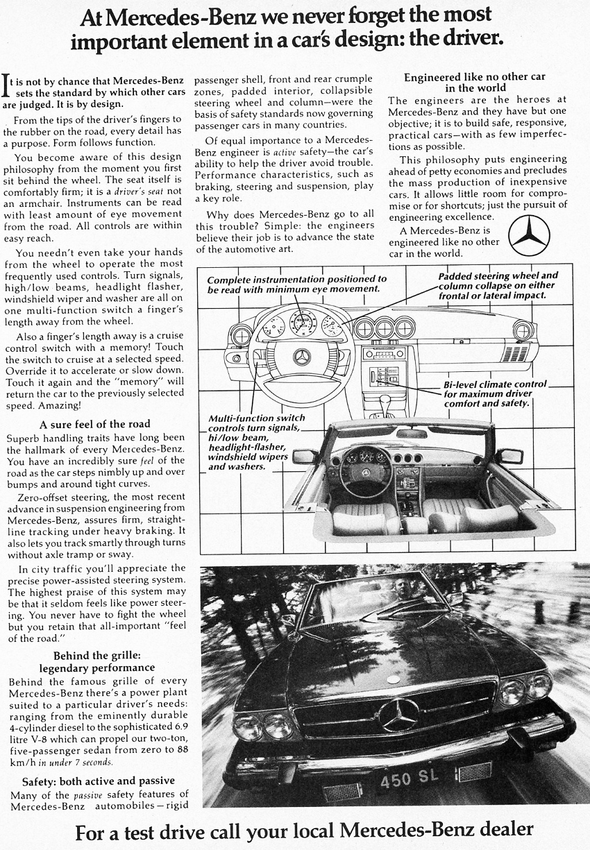 Safety features are highlighted in this 1978 U.S. market 450SL advertisement.