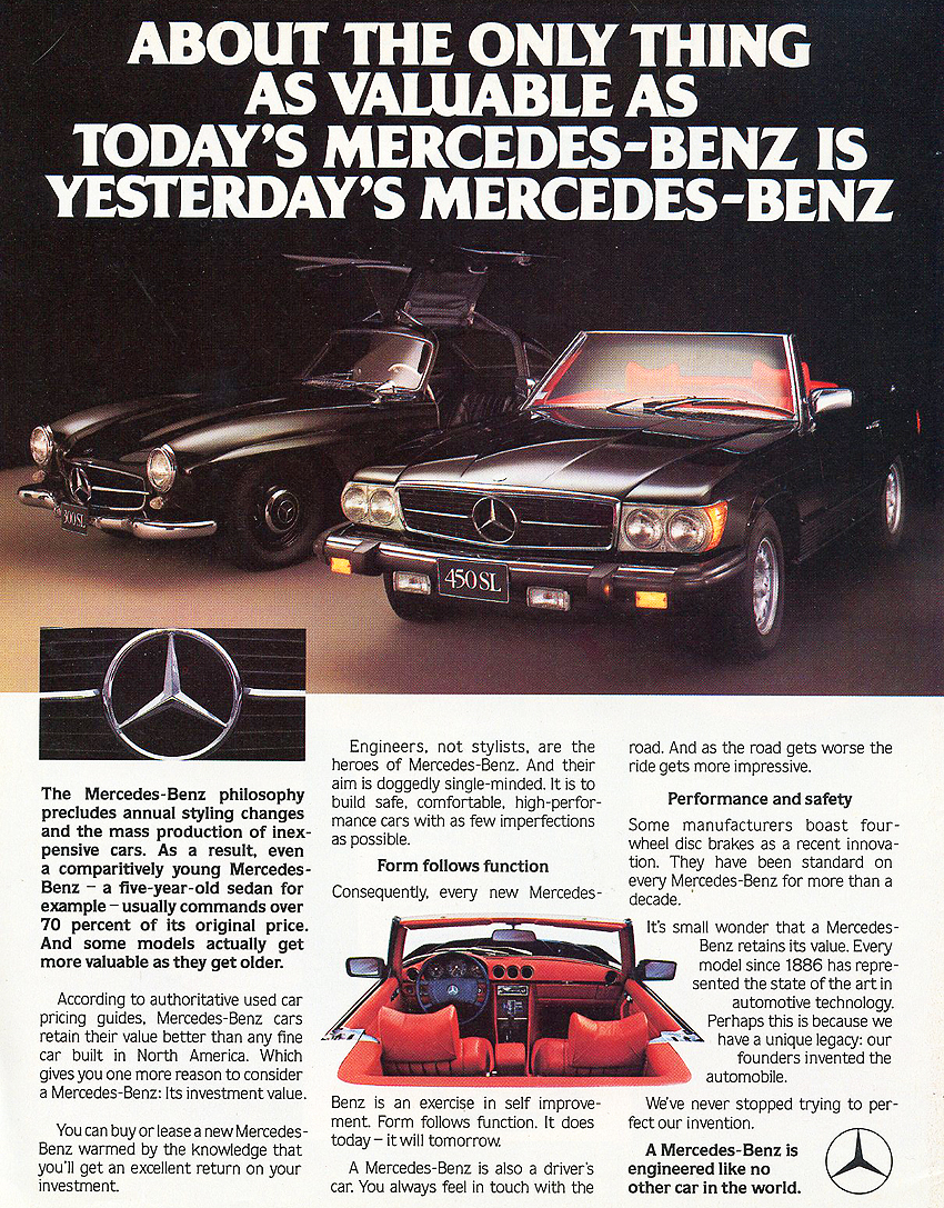 In this 1980 450SL ad, a 1955 300SL makes a guest appearance in the background.