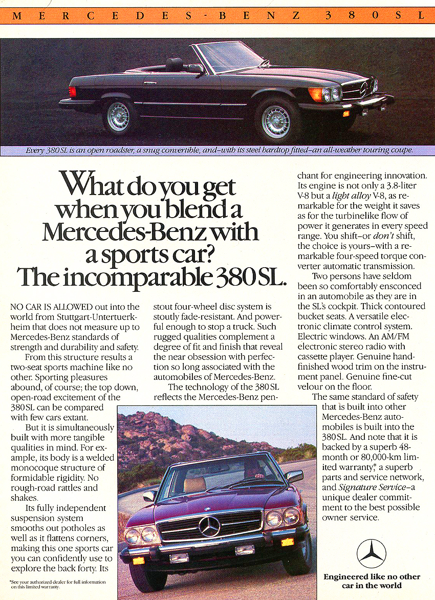 The 1981-85 380SL and 1981 380SLC were the second of three versions of the 107-body SL. Although body panels were 100% identical to the 450SL, this version was updated with an aluminum block V8 engine, 4-speed automatic transmission, more modern interiors, and airbags.