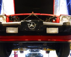 A closer look at the plastic front airdam unique to all 1986-89 SLs.