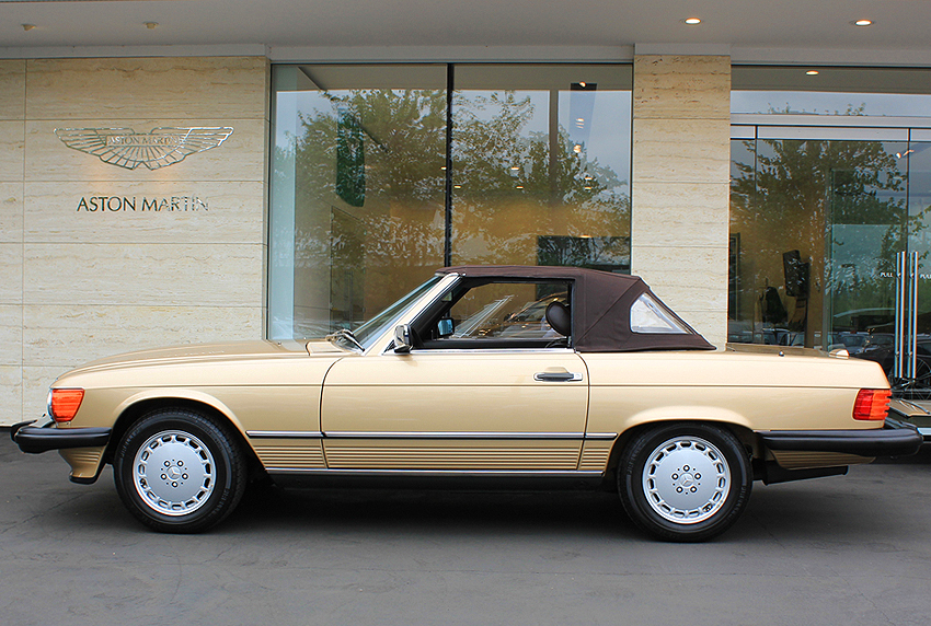 1988 Mercedes 560SL with soft top up.