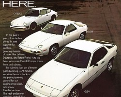 This 1978 Porsche advertisement shows the company's entire lineup of models.  The larger 928, introduced one year after the 924, also features the company's new approach to water cooled front-engines with rear-mounted transaxles - but in more potent V8 form.