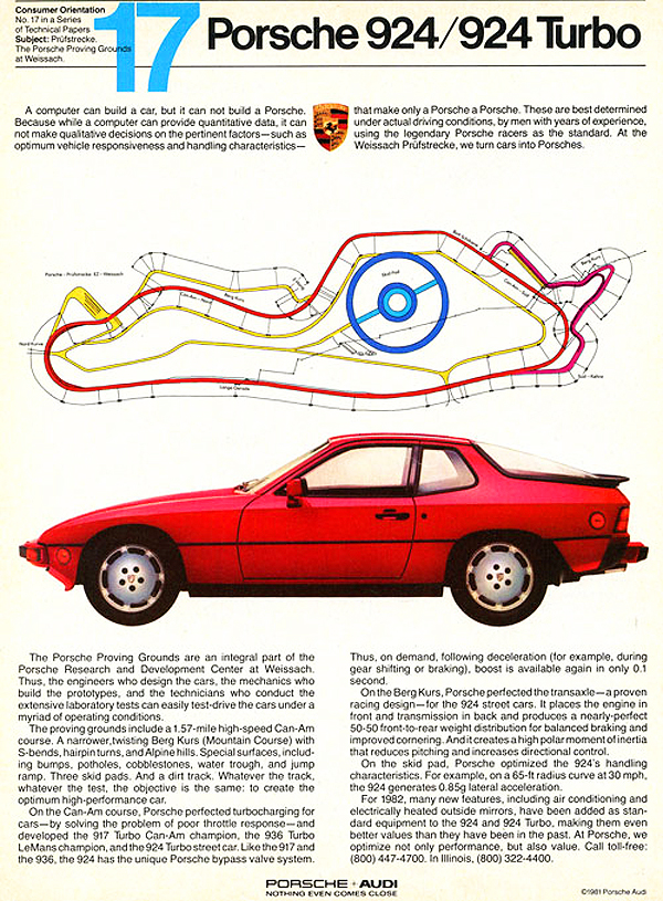 This 1981 Porsche advertisement extolling the 924's virtues shows a Turbo model.