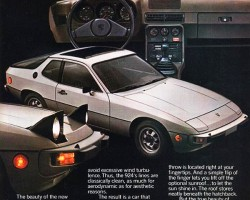 This advertisement introduces the 1977 Porsche 924 to the United States market.  Its hatchback design, pop-up headlights, and overall shape would inspire many imitations during the 1980s.