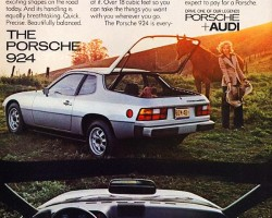 This mid-season 1977 advertisement for the 924 highlights its exceptional amount of cargo space, and $9,995 price tag.  Of course, the automatic transmission shown would add to that.