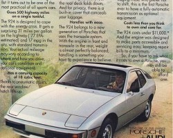 This 1978 Porsche 924 ad reminds potential buyers that it's a good choice for the gas crunch, with 17 mpg city and 31 mpg highway.