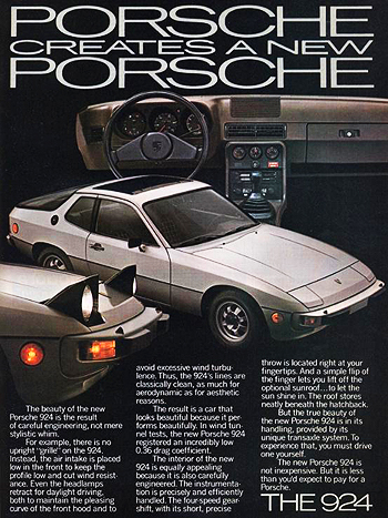 This advertisement introduces the 1977 Porsche 924 to the United States market.