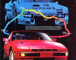 This 1981 924 Turbo ad allows a good view of the additional vents built in to the hood for better cooling.