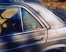 Over the years, friends have all ridden in the 300D or driven it on many occasions. Here, a photo from 1996 was taken after a friend was courteous enough to become sick outside of the window on an elevated bridge where there was no shoulder to pull over.