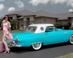 blue 1955 Ford Thunderbird girl