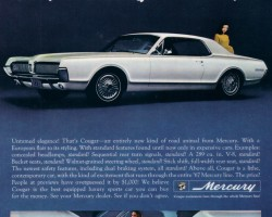 1967 Mercury Cougar ad with wire wheel covers