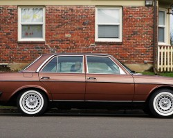 brown Mercedes 240D white wall tires