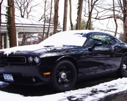 all-black Dodge Challenger police car wheels