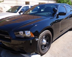 black dodge Charger police car