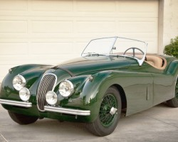 green 1954 Jaguar Xk120 wire wheels