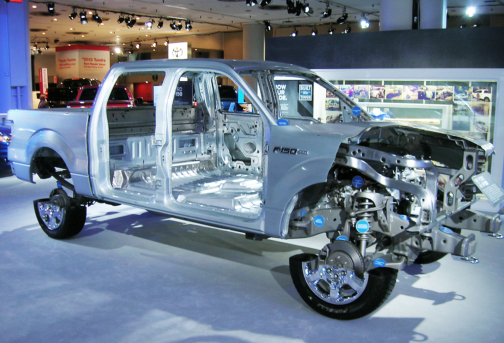 2013 Ford F-150 frame cutaway display at the 2013 New York Auto Show ...
