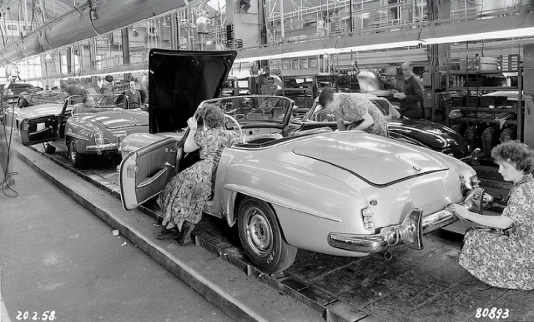 1958 Mercedes 190SL assembly line