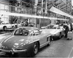 1957 Mercedes 300SL assembly line