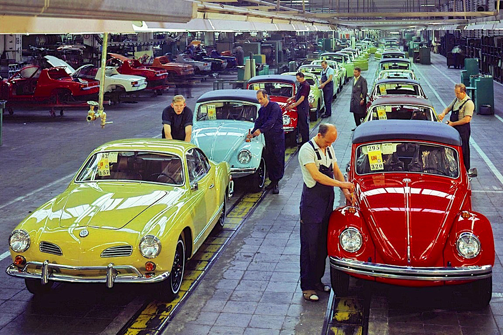Karmann Ghia, Beetle assembly line